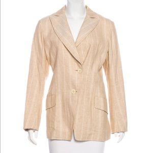 Jil sandal tan cotton linen blazer jacket